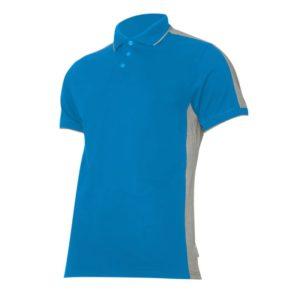 Koszulka robocza polo LAHTI PRO L40319 niebiesko-szara ochronna do pracy koszulka gładka ciuchy robocze z kołnierzykiem sklep bhp