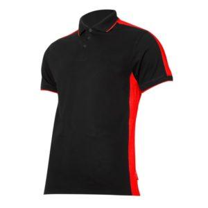 Koszulka robocza polo LAHTI PRO L40321 Czarno-Czerwona ochronna do pracy koszulka gładka ciuchy robocze z kołnierzykiem sklep bhp