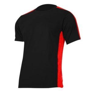 Koszulka T-shirt Lahti PRO L40227 Czarno-Czerwona podkoszulek do pracy ochronna oddychająca bawełniana tshirt sklep bhp czarny czerwony na krótki rękaw
