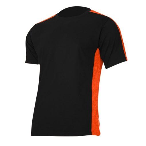 Koszulka T-shirt Lahti PRO L40230 czarna pomarańczowa podkoszulek do pracy ochronna oddychająca bawełniana tshirt sklep bhp czarny czerwony na krótki rękaw