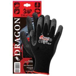Rękawice Ochronne DRAGON BB Powlekane Gumą do pracy robocze czarne poliestrowe powleczone lateksem antypoślizgowe chropowate mocne czarne szare wampirki