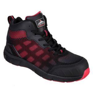 Trzewiki Ochronne PORTWEST FC15 Metal-Free buty robocze obuwie bezpieczne do pracy z podnoskiem kompozytowym antyprzebiciowe wkładka podeszwa gumowa antystatyczne z noskiem z blachą czarne czerwone