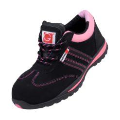 Półbuty Robocze Damskie GALMAG 565 S1 SRC do pracy ochronne mocne bezpieczne obuwie buty bhp z noskiem podnoskiem skórzane zakryte różowe czarne antypoślizgowe olejoodporne adidasy sklep bhp dla kobiety