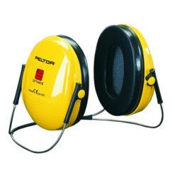 Nauszniki Nakarkowe Przeciwhałasowe 3M OPTIME I H510B ochronniki słuchu słuchawki na hałas bhp na pałąku dobre ciche wygodne sklep bhp żółte czarne nakarkowe na kark