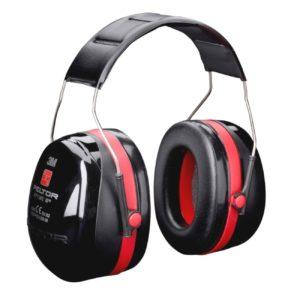 Nauszniki Przeciwhałasowe 3M OPTIME III H540A ochronniki słuchu mocne wyciszające do pracy na hałas bhp wygłuszające na pałąku ergonomiczne czarne czerwone 35 db