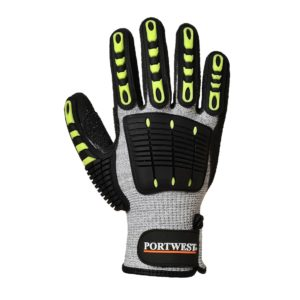 Rękawice Antyprzecięciowe PORTWEST A722 do pracy ochronne odporne na uderzenie przecięcie mocne dzianinowe ze wzmocnieniami bhp sklep szaro czarne żółte zielone mocne