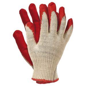 Rękawice Robocze Wampirki RU rękawiczki do pracy ogrodu powlekane tanie szmaciane dzianinowe ze ściągaczem kremowe czerwone sklep bhp