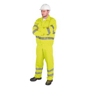 Ubranie Robocze Ostrzegawcze REIS UL odzież komplet ochronny do pracy ciuchy ostrzegawcze dla drogowców z odblaskami ogrodniczki sklep bhp żółty