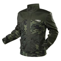 Bluza robocza NEO TOOLS 81-211 CAMO bluza robocza do pracy ochronna bhp zielona moro z kieszeniami suwak kryty plisą ciuchy robocze