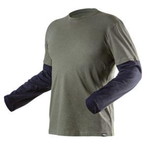 Koszulka z długim rękawem NEO TOOLS 81-616 CAMO OLIVE długi rękaw t-shirt zielony granatowy mocny lekki bawełniany do pracy roboczy ochronny ciuchy robocze sklep bhp przód