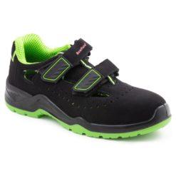 Sandały robocze BEARFIELD K10 S1 SRC Metal Free buty ochronne do pracy odkryte bezpieczne bhp sklep czarne zielone na rzep z noskiem podnoskiem kompozytowym antypoślizgowe antyelektrostatyczna podeszwa perforowane z boku