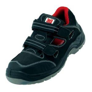 Sandały Robocze GALMAG 611 S1 SRC do pracy ochronne dobocze bhp z blachą noskiem podnoskiem przewiewne czarno czerwone na rzep obuwie bezpeiczne sklep bhp