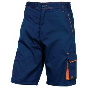 Spodnie robocze krótkie DELTA PLUS M6BER do kolan spodenki na lato do pracy bermudy z kieszeniami elastyczny pas ciuchy robocze odzież robocza granatowe pomarańczowe sklep bhp system