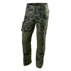 Spodnie robocze NEO TOOLS 81-221 CAMO w pas do pasa spodnie ochronne bhp moro mocne materiałowe do pracy potrójne szwy elastyczne w pasie kieszeni na nakolanniki zielone sklep bhp