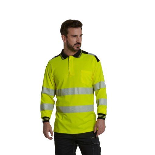 Koszulka polo Ostrzegawcza PORTWEST T184 Długi Rękaw odblaskowa do pracy ochronna robocza z pasami odblaskowymi odzież bhp sklep polówka z kołnierzykiem na modelu