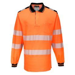 Koszulka polo Ostrzegawcza PORTWEST T184 Długi Rękaw odblaskowa do pracy ochronna robocza z pasami odblaskowymi odzież bhp sklep polówka z kołnierzykiem pomarańczowa czarna