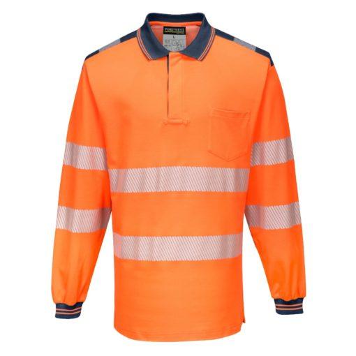Koszulka polo Ostrzegawcza PORTWEST T184 Długi Rękaw odblaskowa do pracy ochronna robocza z pasami odblaskowymi odzież bhp sklep polówka z kołnierzykiem pomarańczowa granatowa