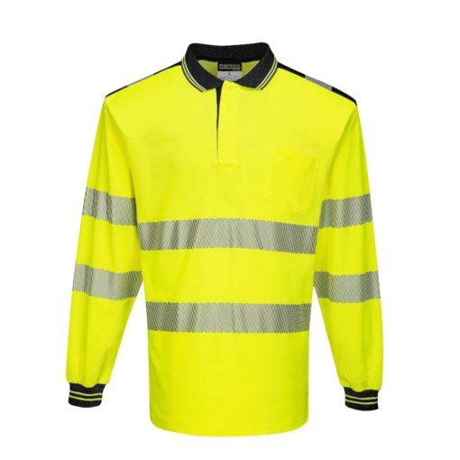 Koszulka polo Ostrzegawcza PORTWEST T184 Długi Rękaw odblaskowa do pracy ochronna robocza z pasami odblaskowymi odzież bhp sklep polówka z kołnierzykiem żółta czarna