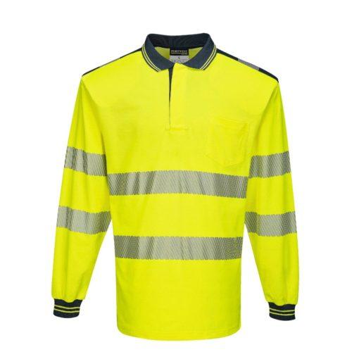 Koszulka polo Ostrzegawcza PORTWEST T184 Długi Rękaw odblaskowa do pracy ochronna robocza z pasami odblaskowymi odzież bhp sklep polówka z kołnierzykiem żółta granatowa