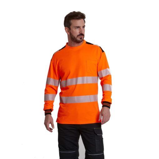 Koszulka T-Shirt Ostrzegawcza PORTWEST T185 Długi Rękaw odblaskowa do pracy ochronna robocza z pasami odblaskowymi odzież bhp sklep pomarańczowa
