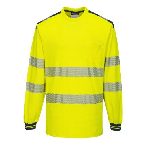 Koszulka T-Shirt Ostrzegawcza PORTWEST T185 Długi Rękaw odblaskowa do pracy ochronna robocza z pasami odblaskowymi odzież bhp sklep żółta granatowa