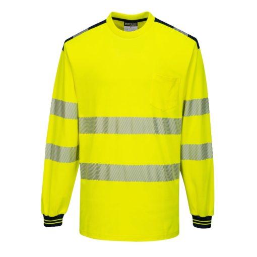 Koszulka T-Shirt Ostrzegawcza PORTWEST T185 Długi Rękaw odblaskowa do pracy ochronna robocza z pasami odblaskowymi odzież bhp sklep żółta czarna