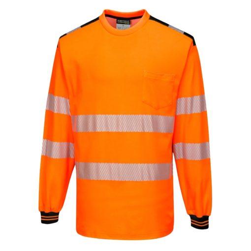Koszulka T-Shirt Ostrzegawcza PORTWEST T185 Długi Rękaw odblaskowa do pracy ochronna robocza z pasami odblaskowymi odzież bhp sklep pomarańczowa czarna