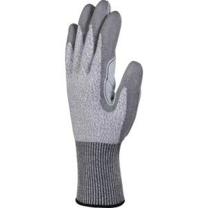 Rękawice antyprzecięciowe DELTA PLUS VENICUT5X1 odporne na przeciecie mocne wzmacniane skórzane z mankietem ochronne robocze do pracy sklep bhp panoply szare czarne część wierzchnia