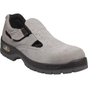 Sandały robocze DELTA PLUS BRISBANE S1 SRC do pracy obuwie buty ochronne robocze bhp odkryte na rzepe rzep mocne skórzane antypoślizgowe z blachą z podnoskiem noskiem szare welur oddychające sklep bhp