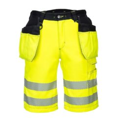 Spodnie Krótkie Ostrzegawcze PORTWEST PW343 spodenki szorty bermudy do pracy ochronne dla drogowców z odblaskami kieszenie monterskie odpinane na suwak żółte wysokiej widoczności czarne sklep bhp przód