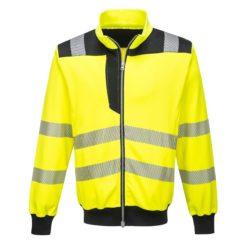 Bluza Ostrzegawcza PORTWEST PW370 odblaskowa wysokiej widoczności robocza do pracy ochronna dwukolorowa na suwak ze ściągaczem bhp sklep odzież robocza dla drogowców czarna żółta