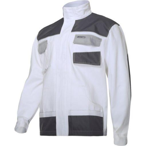 Bluza robocza LAHTI PRO L40413 Biała Malarska kurtka dla malarza tynkarza biała szara robocza ochronna bhp sklep mocna bawełniana