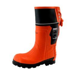 Buty dla pilarzy GALMAG 02 buty ochronne robocze bezpieczne bhp gumowce antypoślizgowe z noskiem podnoskiem dla pilarza antyprzecięciowe czarne pomarańczowe sznurowane piła mechaniczna sklep bhp