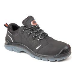 Buty robocze BEARFIELD K15 S3 SRC obuwie bezpieczne bhp półbuty do pracy skórzane skórkowe z wkładką kevlarową podnosek kompozytowy metal free z odblaskiem polstar czarne antypoślizgowe wododporne bok
