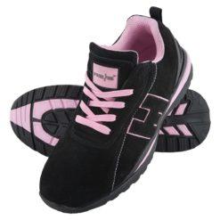 Buty robocze REIS BRARGENTINA SB Damskie ochronne do pracy bezpieczne bhp sklep z noskiem podnoskiem blachą podeszwa antypoślizgowa czarne różowe adidasy
