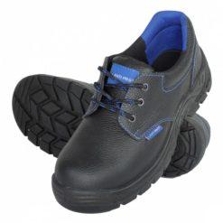 Buty robocze LAHTI PRO L30419 SB SRC do pracy ochronne bhp bezpieczne mocne skórzane z noskiem stalowym metalowym podnoskiem antypoślizgowe sznurowane czarne niebieskie sklep bhp