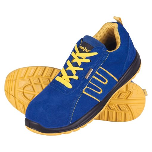 Buty robocze REIS BRBRAZIL SB półbuty ochronne obuwie bezpieczne bhp sklep niebieskie żółte adidasy z blachą podnosek antypoślizgowa podeszwa