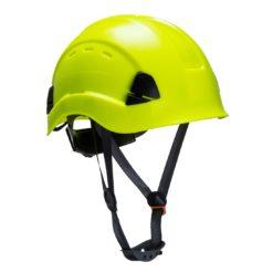 Hełm do pracy na wysokości PORTWEST PS63 kask wysokościowy do pracy na wysokości z paskiem podbródkowym wentylowany z otworami mocny budowlany opływowy sklep bhp odzież żółty limonkowy neonowy