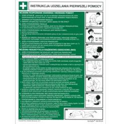 Instrukcja ABC pierwszej pomocy zielona biała tablica udzielanie pierwszej pomocy jak udzielać instrukcja zielona biała