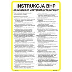 Instrukcja BHP dla wszystkich pracowników obowiązująca wszystkich w zakładzie pracy bezpieczeństwa biała żółta