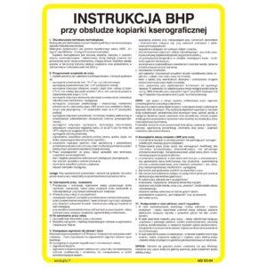 Instrukcja BHP przy obsłudze kopiarki kserograficznej bezpieczeństwa tablica do biura twarde podłoże ksero kopiarka techem kenlight biało żółta