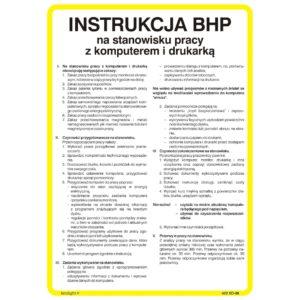 Instrukcja BHP na stanowisku pracy z komputerem i drukarką instrukcja bezpiecznej pracy do biura na twardym podłożu na ścianę biało żółta