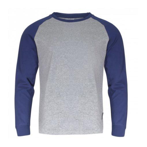 Koszulka z długim rękawem LAHTI PRO L40224 t-shirt na długi rękaw koszulka dwukolorowa granatowa szara do pracy robocza ochronna ze ściągaczem przewiewna sklep bhp