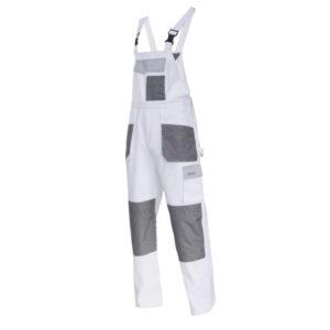 Ogrodniczki robocze LAHTI PRO L40612 Białe Malarskie spodnie do pracy z szelkami na szelki szwedy szwedzkie białe szare bhp z kieszeniami sklep bhp