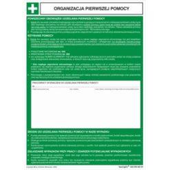 Organizacja Pierwszej Pomocy jak wzywać pierwszą pomoc tablica osoby odpowiedzialne za pierwszą pomoc instrukcja zielona biała