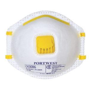 Półmaska przeciwpyłowa PORTWEST P101 FFP1 10 szt. z zaworkiem ochronna biała na gumke jednorazowa do pracy ochronna środek ochrony indywidualnej sklep bhp