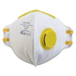 Półmaska przeciwpyłowa PORTWEST P153 FFP1 20 szt. jednorazowa maseczka ochronna do pracy test dolomitowy zaworek wydechowy na gumkę biała ochronna środek ochrony indywidualnej składana sklep bhp