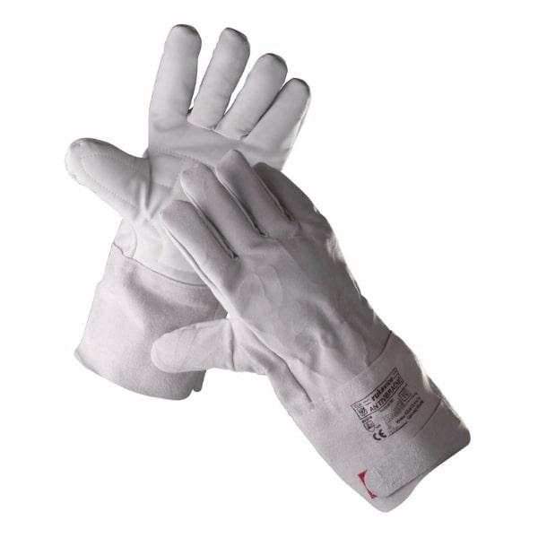 Rękawice antywibracyjne KILLDEER ochronne rękawiczki skórkowe odporne na wibracje długie z mankietem bawełniana wyściółka szare sklep bhp do pracy ochronne