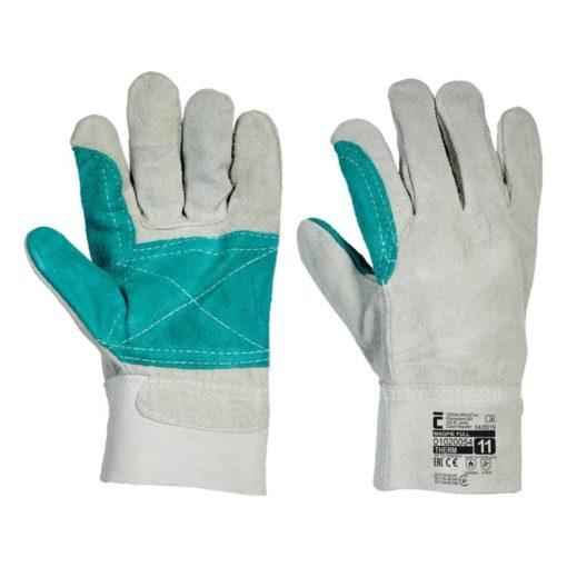 Rękawice skórzane MAGPIE FULL ochronne robocze do pracy bhp sklep termiczne termoizolacyjne odporne na ciepło szare zielone cerva rękawiczki skórkowe