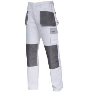 Spodnie robocze LAHTI PRO L40513 Białe Malarskie spodnie ochronne bhp do pasa w pas białe szare dla malarza tynkarskie z kieszeniami bawełniane sklep bhp